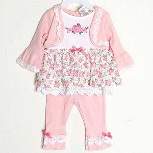 Little Lass floral matching set baby girl SZ:3/6M
